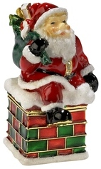 Kubla Crafts Bejeweled Enamel KUB 0-3826 Santa on Chimney Box
