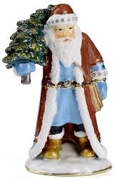 Kubla Crafts Bejeweled Enamel KUB 0-3885 Woodland Santa Box