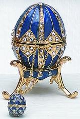 Kubla Crafts Bejeweled Enamel KUB 0-4014B Blue Egg Box and Necklace