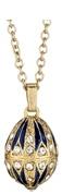 Kubla Crafts Bejeweled Enamel KUB 0-4014BN Jeweled Blue Egg Necklace