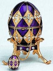 Kubla Crafts Bejeweled Enamel KUB 0-4014P Purple Egg Box and Necklace
