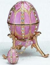 Kubla Crafts Bejeweled Enamel KUB 0-4014PK Pink Egg Box and Necklace