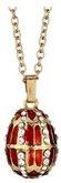 Kubla Crafts Bejeweled Enamel KUB 0-4014RN Red Jeweled Egg Necklace
