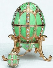 Kubla Crafts Bejeweled Enamel KUB 0-4014TQ Turquoise Egg Box and Necklace