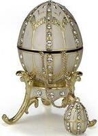 Kubla Crafts Bejeweled Enamel KUB 0-4014WH White Egg Box with Pendant
