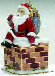 Kubla Crafts Bejeweled Enamel KUB 0-4051 Santa Chimney Box