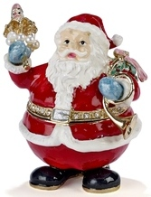 Kubla Crafts Bejeweled Enamel KUB 0-4052A Santa Box
