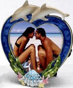 Kubla Crafts Bejeweled Enamel KUB 0-4103 Dolphin Enamel Photo Frame