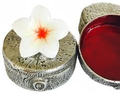 Kubla Crafts Bejeweled Enamel KUB 00-3062 Mini Box Plumeria