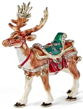 Kubla Crafts Bejeweled Enamel KUB 00-3159 Reindeer Box
