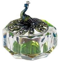 Kubla Crafts Bejeweled Enamel KUB 00-3261 Peacock Glass Box