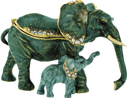Kubla Crafts Bejeweled Enamel KUB 00-3618 Elephant Mom and Baby