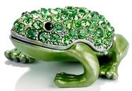 Kubla Crafts Bejeweled Enamel KUB 00-3746 Jewel Green Frog Box