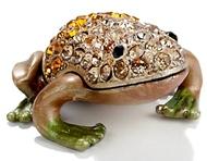 Kubla Crafts Bejeweled Enamel KUB 00-3746B Frog Amber Box