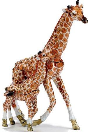 Kubla Crafts Bejeweled Enamel KUB 00-3793 Giraffe and Baby Box