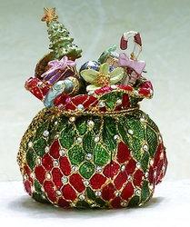 Kubla Crafts Bejeweled Enamel KUB 00-3960 Christmas Toy Sack Box