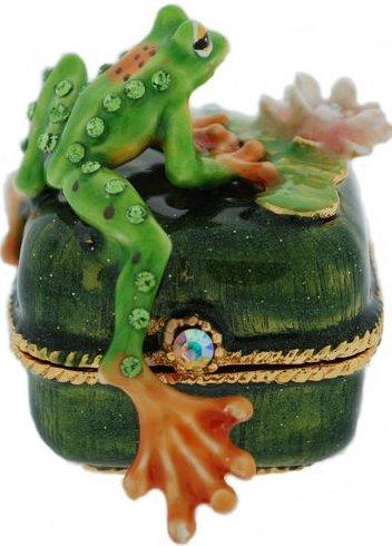 Kubla Crafts Bejeweled Enamel KUB 00-4028 Tree Frog on Box