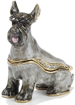 Kubla Crafts Bejeweled Enamel KUB 00-4029 Schnauzer Dog Box