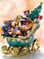 Kubla Crafts Bejeweled Enamel KUB 00-4086 Sleigh of Toys Box