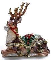 Kubla Crafts Bejeweled Enamel KUB 00-4126 Reindeer Reclining Box