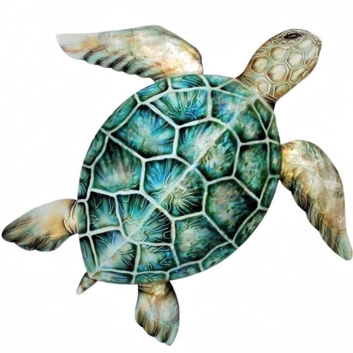 Kubla Crafts Capiz KUB 0243GR Extra Large Green Capiz Sea Turtle Wall Decor