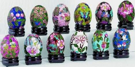 Kubla Crafts Cloisonne KUB 1-4480 Cloisonne Egg with Wood Stand Set of 12