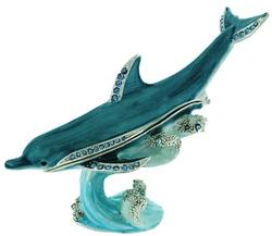 Kubla Crafts Bejeweled Enamel KUB 10-3763 Dolphin Box