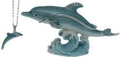 Kubla Crafts Bejeweled Enamel KUB 10-3927DN Dolphin Box with Necklace