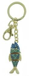 Kubla Crafts Bejeweled Enamel KUB 1430 Fish Key Ring