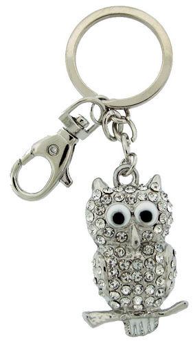Kubla Crafts Bejeweled Enamel KUB 1445 Owl Key Ring