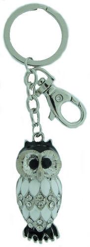 Kubla Crafts Bejeweled Enamel KUB 1452 Owl Key Ring