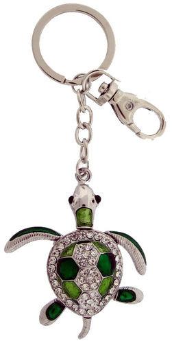 Kubla Crafts Bejeweled Enamel KUB 1459G Sea Turtle Key Ring