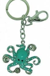 Kubla Crafts Bejeweled Enamel KUB 1464 Key Ring Octopus