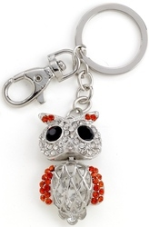 Kubla Crafts Bejeweled Enamel KUB 1495 Owl Key Ring