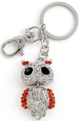 Kubla Crafts Bejeweled Enamel KUB 1495 Owl Key Ring