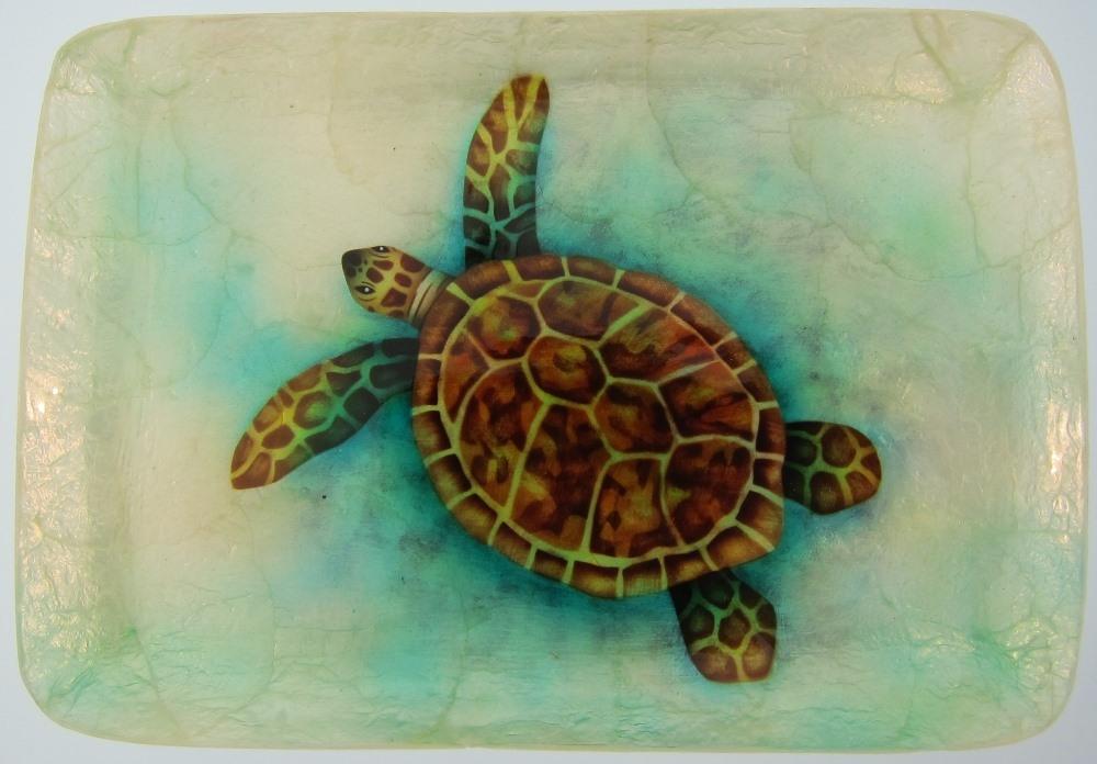 Kubla Crafts Capiz KUB 1629J Capiz Tray Medium Sea Turtle