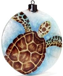 Kubla Crafts Capiz KUB 1645D Brown Sea Turtle Capiz Box