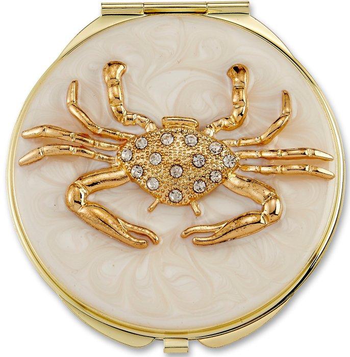 Kubla Crafts Bejeweled Enamel KUB 1958 Crab Compact Mirror