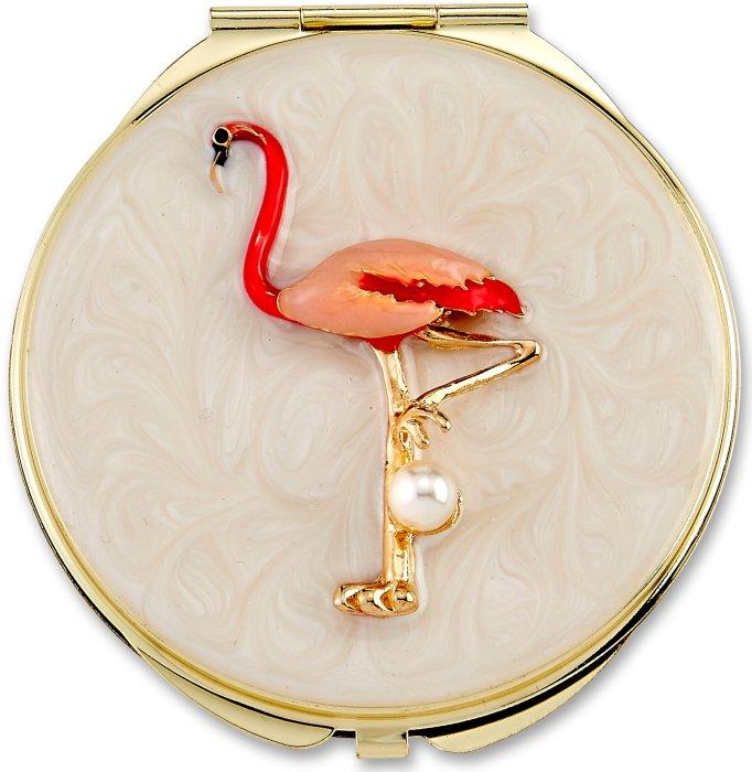 Kubla Crafts Bejeweled Enamel KUB 1960 Flamingo Compact Mirror