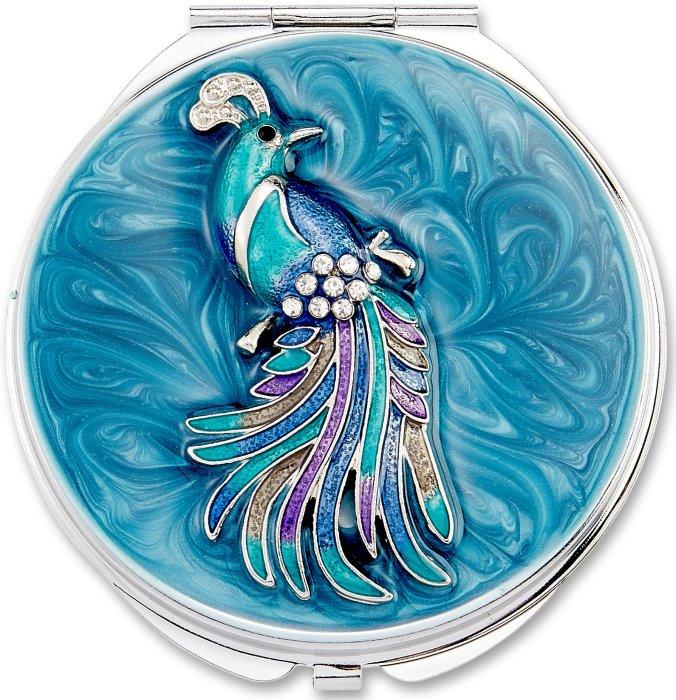 Kubla Crafts Bejeweled Enamel KUB 1962 Peacock Compact Mirror