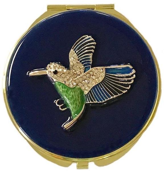 Kubla Crafts Bejeweled Enamel KUB 1963 Hummingbird Compact Mirror