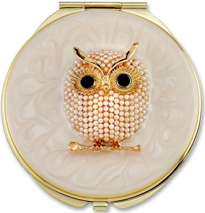 Kubla Crafts Bejeweled Enamel KUB 1965 Owl Compact Mirror