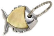 Kubla Crafts Bejeweled Enamel KUB 2-1410 Fish Mother of Pearl Groove Key Ring