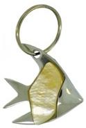 Kubla Crafts Bejeweled Enamel KUB 2-1411 Fish Mother of Pearl Key Ring