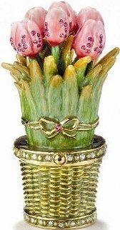 Kubla Crafts Bejeweled Enamel KUB 2-3454 Tulip Flower Box
