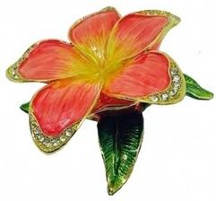 Kubla Crafts Bejeweled Enamel KUB 22-3146PK Pink Plumeria Box