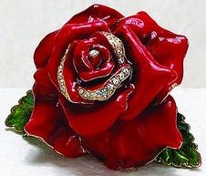 Kubla Crafts Bejeweled Enamel KUB 22-3594R Red Rose Box