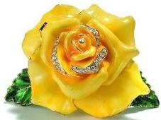 Kubla Crafts Bejeweled Enamel KUB 22-3594Y Yellow Rose Box