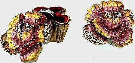 Kubla Crafts Bejeweled Enamel KUB 22-3823 Jeweled Rose Box