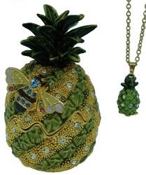 Kubla Crafts Bejeweled Enamel KUB 23-3890PN Pineapple Box with Necklace